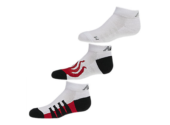 Kids No Show (3 pack), White with Black & Red