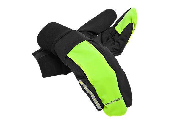 Wind Blocker Glove, Black with Yellow