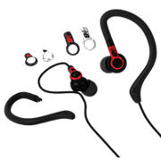 2-in-1 Sport Earbuds with Removable Earhooks, Black