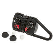 Sports Earbuds with Carabiner Clip Cord Wrap, Black with Red