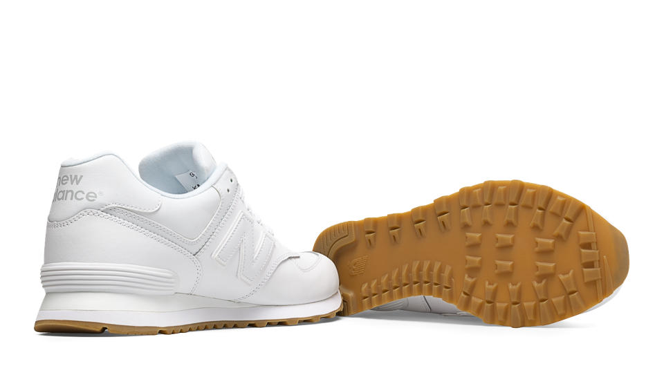 new balance 574 white leather gum