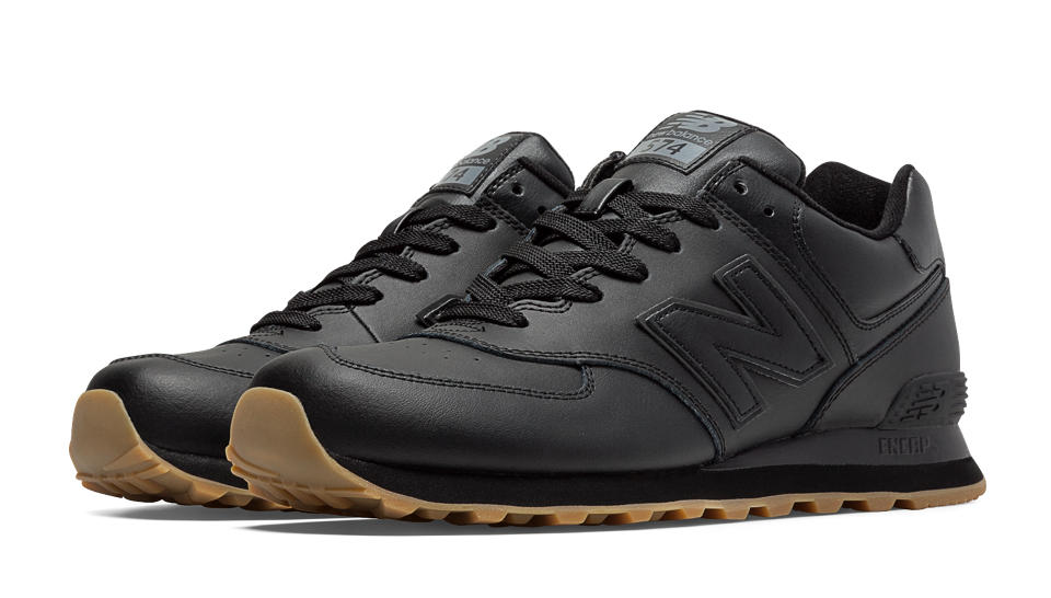 black leather new balance 574