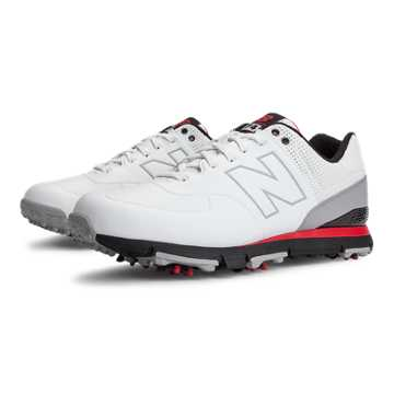 New Balance New Balance Golf Leather 574, White with Black & Red