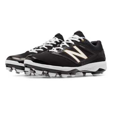 New Balance Low Cut 4040v3 TPU Molded Cleat, Black with White