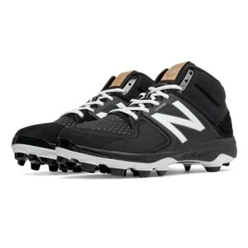 New Balance Mid-Cut 3000v3 TPU Molded Cleat, Black with White