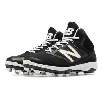 New Balance Mid-Cut 4040v3 TPU Molded Cleat, Black with White