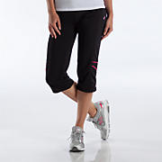 Komen Stride Capri, Black with Sangria