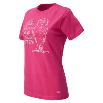 New Balance Pink Ribbon Owl Tee, Magenta with Pink