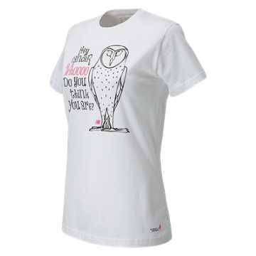 New Balance Pink Ribbon Owl Tee, White with Black & Magenta