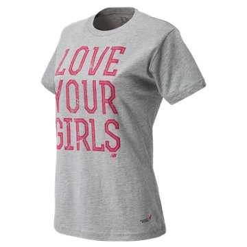 New Balance Pink Ribbon Love Girls Tee, Athletic Grey with Magenta