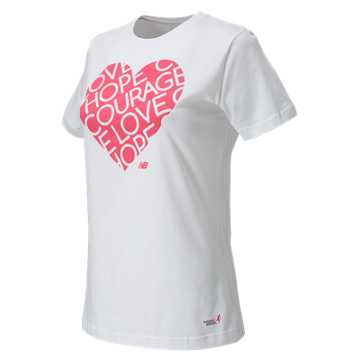 New Balance Pink Ribbon Heart Tee, White with Magenta