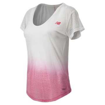 New Balance Pink Ribbon Survivor Tee, White with Pink Glo