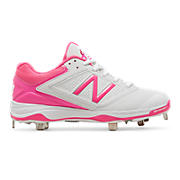 Women's Low-Cut 4040v1 Pink Ribbon Metal Cleat, White with Komen Pink