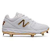 Low-Cut Velo1 LE Metal Cleat , White with Gold