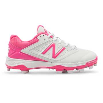 New Balance Low-Cut 4040v1 Pink Ribbon Plastic Cleat, White with Komen Pink