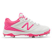 Women's Low-Cut 4040v1 Pink Ribbon Plastic Cleat, White with Komen Pink