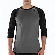 3/4 Raglan Top, Black with Grey
