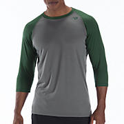 3/4 Raglan Top, Green with Grey