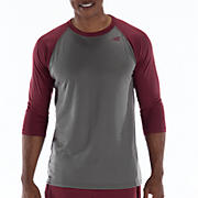 3/4 Raglan Top, Grey with Cadinal Red