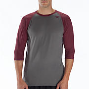 3/4 Raglan Top, Grey with Maroon