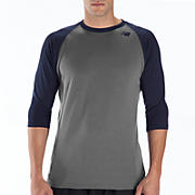 3/4 Raglan Top, Navy with Grey