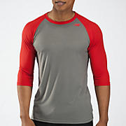 3/4 Raglan Top, Grey with Red