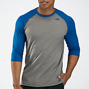 3/4 Raglan Top, Grey with Blue