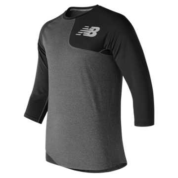 New Balance Baseball Asym Base Layer Left, Team Black with Heather Grey