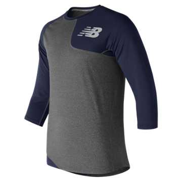 New Balance Baseball Asym Base Layer Left, Team Navy with Heather Grey