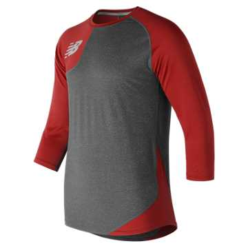 New Balance Baseball Asym Base Layer Right, Team Red with Heather Grey