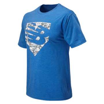 New Balance Baseball Knockout Tee, Team Royal with White & Dark Heather Grey