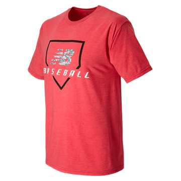 New Balance Baseball Digiplate Tee, Team Red with Dark Heather Grey & Team Royal