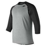 3/4 Baseball Raglan Top, Team Black