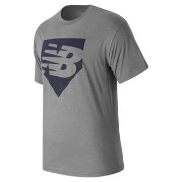 New Balance Home Plate Tee, Athletic Grey with Team Navy