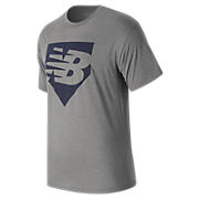 Home Plate Tee, Athletic Grey