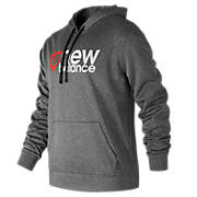 NB Stack Plate Hoodie, Dark Heather Grey