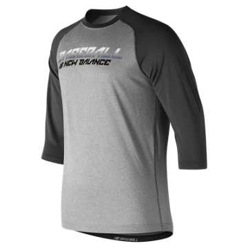 New Balance Baseball Splatter Raglan Top, Team Black with Grey