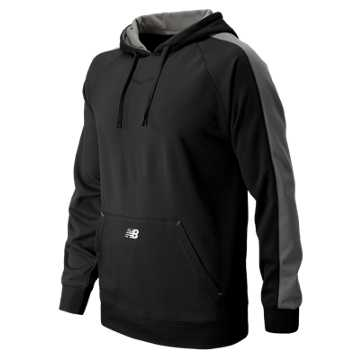 New Balance Performance Fleece Baseball Hoodie, Team Black with Athletic Grey