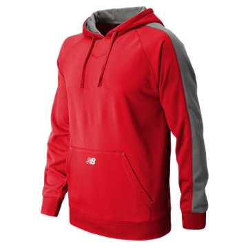 New Balance Performance Fleece Baseball Hoodie, Team Red with Athletic Grey