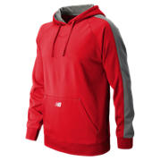 Performance Fleece Baseball Hoodie, Team Red with Athletic Grey