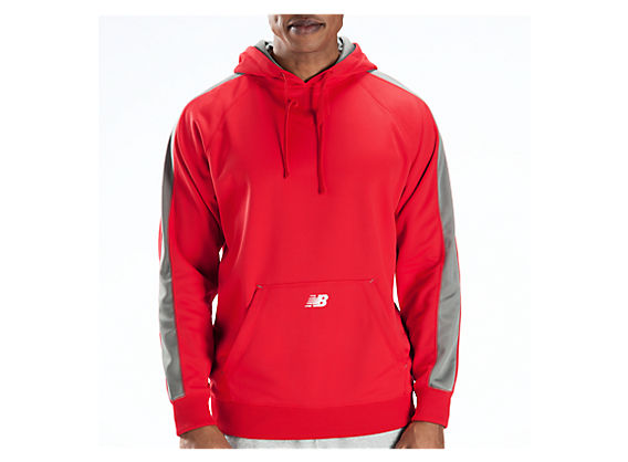 Performance Fleece Hoodie, Team Red with Athletic Grey