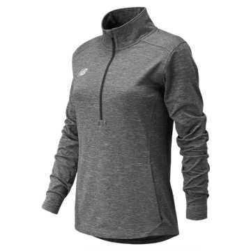 Women's Lightweight Solid Half Zip, Heather Grey