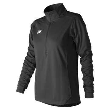 Women's Lightweight Solid Half Zip, Team Black