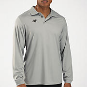 Solid Long Sleeve Polo, Light Grey