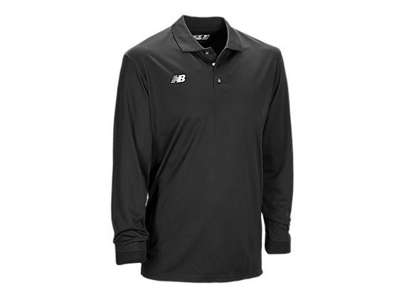Solid Long Sleeve Polo, Team Black