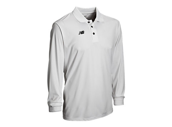 Solid Long Sleeve Polo, White