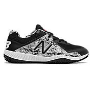 Youth Pedroia 4040v4 Turf, Black with White