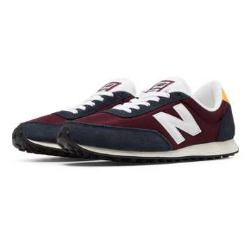 New Balance 410 70s Running, Burgundy with Grey & Yellow