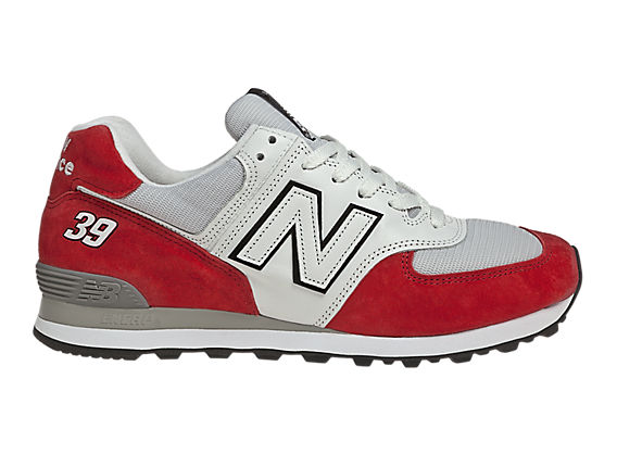 Men's Race Inspired 574, Red with Grey & White
