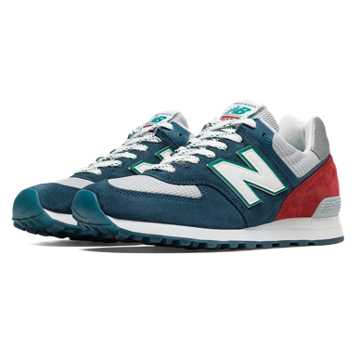 New Balance 574 Connoisseur East Coast Summer, Blue Jewel with Light Grey & Red